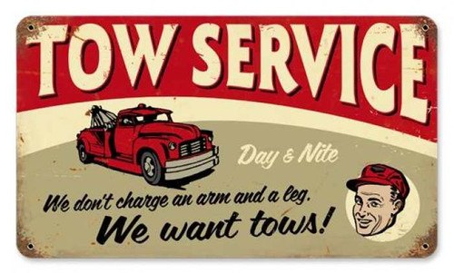 Retro Tow Service Metal Sign 14 x 8 Inches