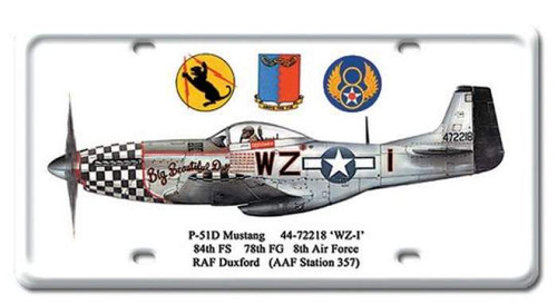 Vintage P-51D Mustang License Plate 6 x 12 Inches