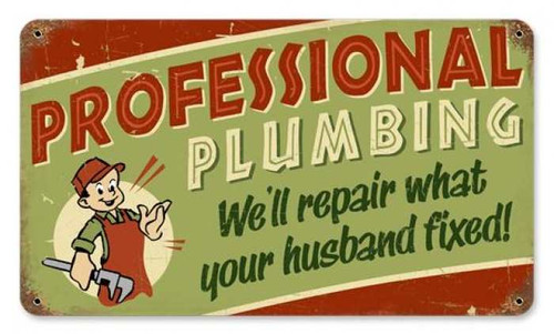 Retro Professional Plumbing Metal Sign 14 x 8 Inches