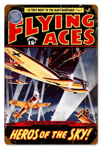 Retro Flying Aces Metal Sign  18 x 12 Inches
