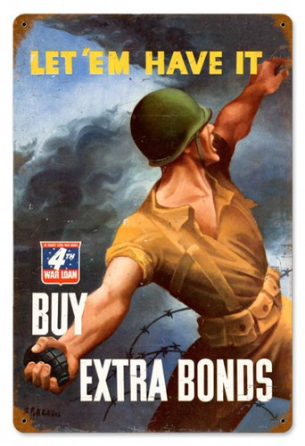 Retro War Bond Grenade Metal Sign 18 x 12 Inches
