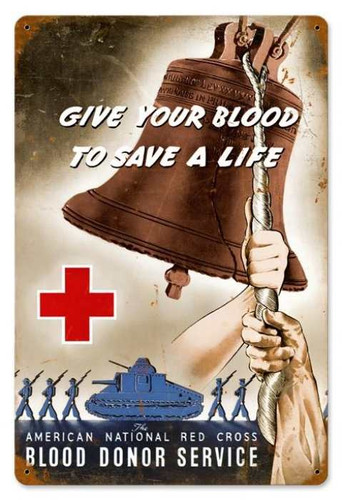 Retro Red Cross Bell Metal Sign 18 x 12 Inches