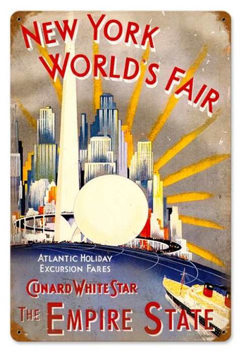 Retro New York World Fair Metal Sign 18 x 12 Inches