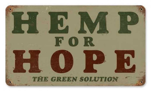 Retro Hemp For Hope Metal Sign 14 x 8 Inches