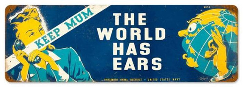 Vintage World Has Ears Metal Sign 8 x 24 Inches