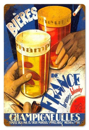 Retro Beers of France Metal Sign 18 x 12 Inches