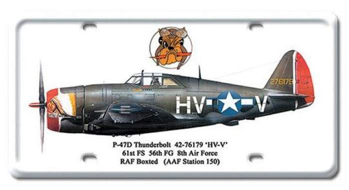 Vintage P-47D Thunderbolt License Plate 6 x 12 Inches