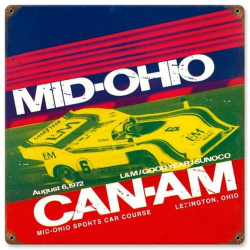 Vintage Mid Ohio Metal Sign 12 x 12 Inches