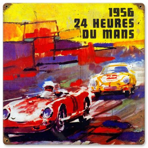 Vintage 24 Heures Dumans Metal Sign 12 x 12 Inches