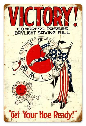 Retro Daylight Victory Metal Sign 18 x 12 Inches