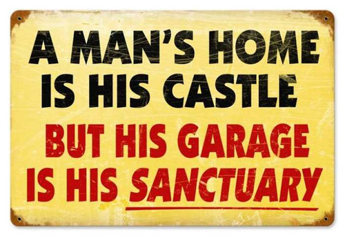 Retro Mans Home Metal Sign  18 x 12 Inches