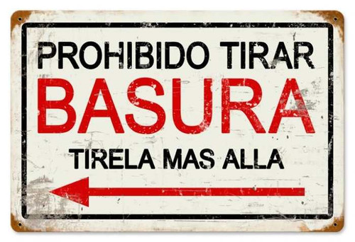Retro Prohibido Basura Metal Sign 18 x 12 Inches