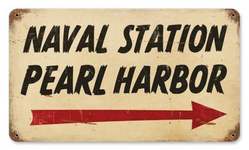 Vintage Pearl Harbor Naval Metal Sign 8 x 14 Inches