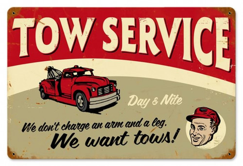 Retro Tow Service Metal Sign  18 x 12 Inches