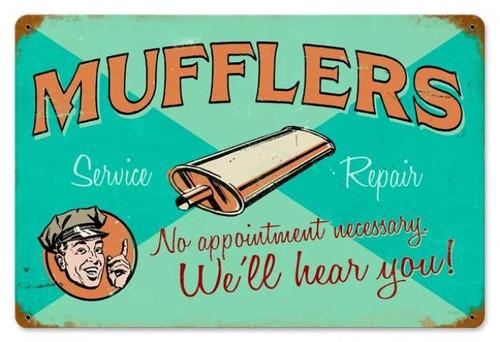 Retro Muffler Service Metal Sign   18 x 12 Inches