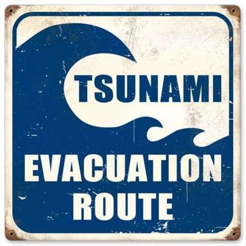 Vintage Tsunami Evacuation Metal Sign 12 x 12 Inches