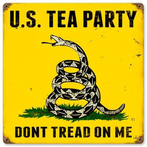 Vintage US Tea Party Metal Sign 12 x 12 Inches