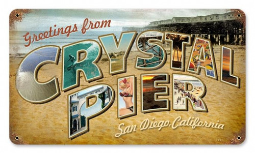 Vintage Crystal Pier Metal Sign 8 x 14 Inches