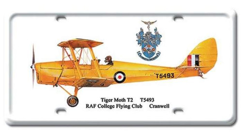 Vintage Tiger Moth T2 License Plate 6 x 12 Inches
