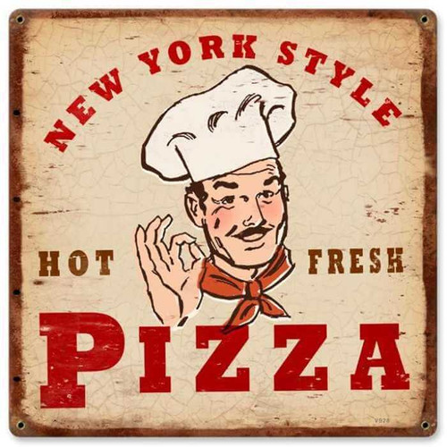 Vintage New York Pizza Metal Sign 12 x 12 Inches