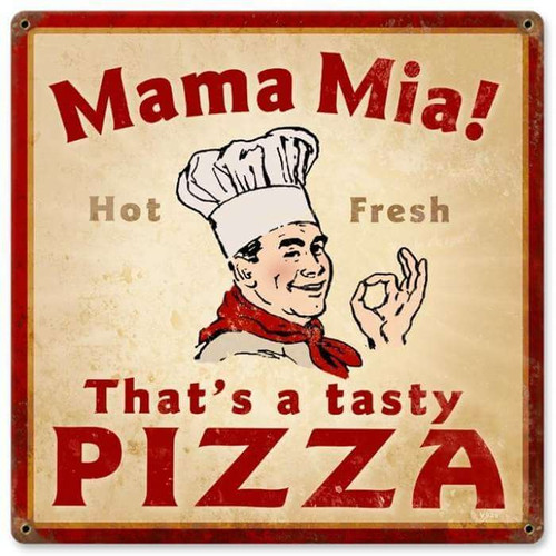 Vintage Mama Mia Pizza Metal Sign   12 x 12 Inches
