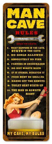 Man Cave Rules Metal Sign  8 x 24  Inches