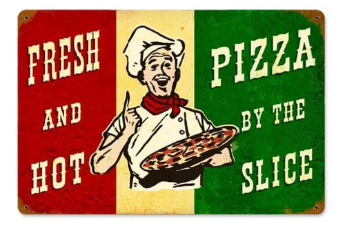 Retro Fresh Hot Pizza Metal Sign 18 x 12 Inches