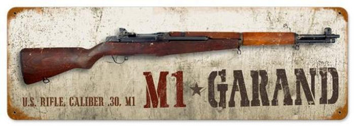 Retro M1 Garand Metal Sign 24 x 8 Inches