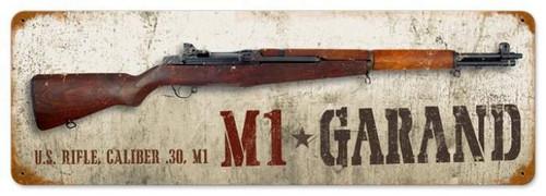 Retro M1 Garand Metal Sign 24 x 8 Inches