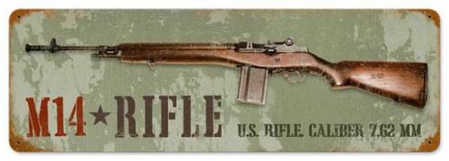 Retro M14 Rifle Metal Sign 24 x 8 Inches