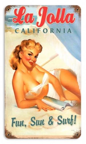 Vintage La Jolla Pinup  - Pin-Up Girl Metal Sign   12 x 18 Inches