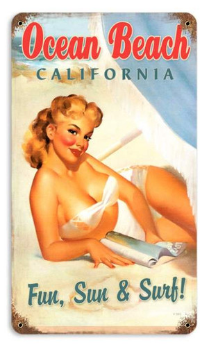 Vintage Ocean Beach Pinup  - Pin-Up Girl Metal Sign   12 x 18 Inches