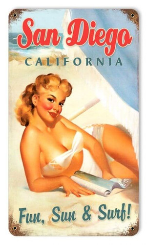 Vintage San Diego Pinup  - Pin-Up Girl Metal Sign 12 x 18 Inches