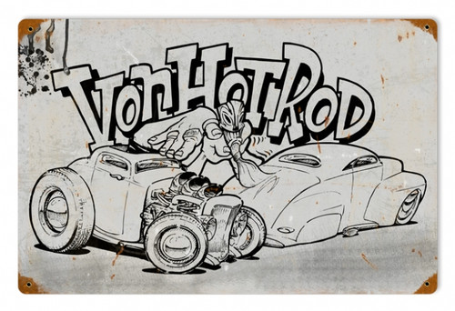 Retro Von Hot Rod Kustom Metal Sign 18 x 12 Inches