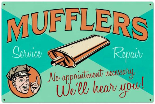 Retro Muffler Service Metal Sign 36 x 24 Inches