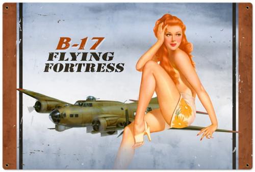Retro B-17 Redhead  - Pin-Up Girl Metal Sign 36 x 24 Inches