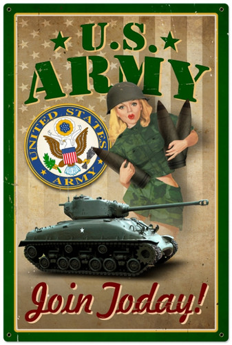 Retro Army Pinup Metal Sign 24 x 36 Inches