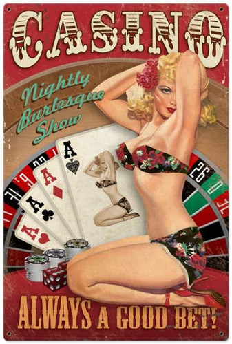 Retro Casino Pinup  Girl Metal Sign 24 x 36 Inches