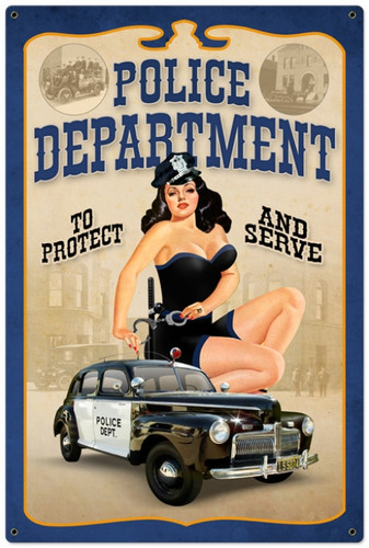 Retro Police Department Pinup  - Pin-Up Girl Metal Sign 24 x 36 Inches