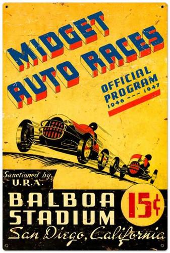 Retro Midget Auto Races Metal Sign 24 x 36 Inches