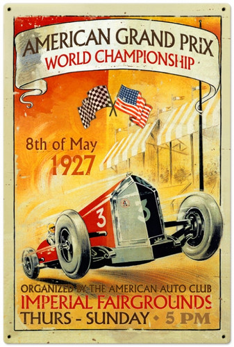 Retro American Grand Prix Metal Sign 24 x 36 Inches