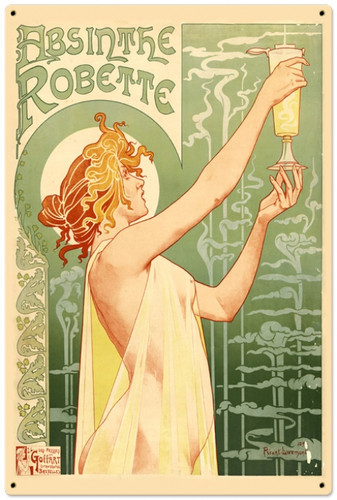 Retro Absinthe Robette Metal Sign 24 x 36 Inches