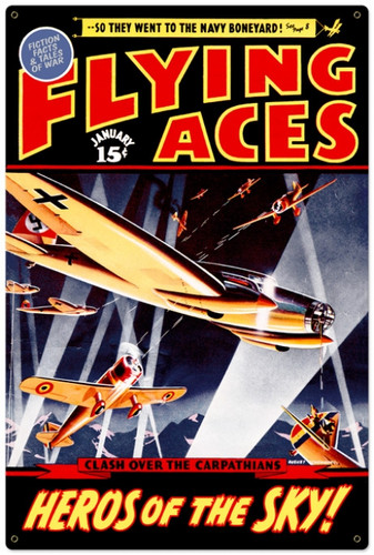 Retro Flying Aces Metal Sign 24 x 36 Inches