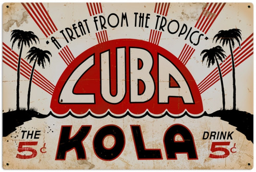 Retro Cuba Kola Metal Sign 36 x 24 Inches