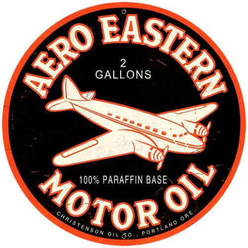 Retro Aero Eastern Round Metal Sign