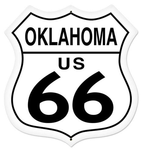 Retro Oklahoma Route 66 Shield Metal Sign 28 x 28 Inches