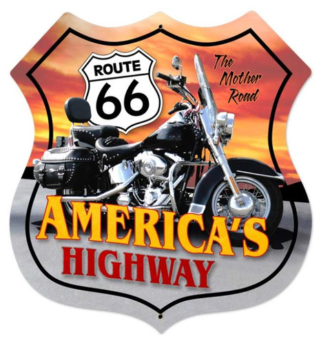 Retro Route 66 Motorcycle Shield Metal Sign 28 x 28 Inches