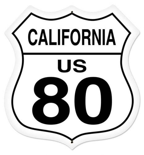 Retro California Route 80 Shield Metal Sign 28 x 28 Inches