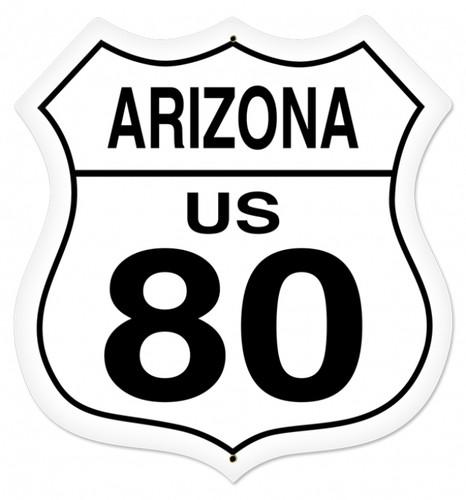Retro Arizona Route 80 Shield Metal Sign 28 x 28 Inches