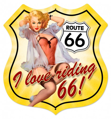 Retro Route 66 Pinup Shield  - Pin-Up Girl Metal Sign 28 x 28 Inches